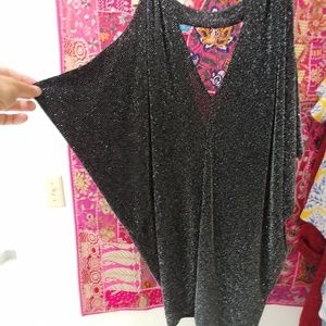 GUESS Sleeveless Sparkly Metallic Party Top